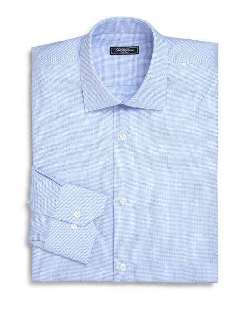 Saks Fifth Avenue - Blue Trim-fit Micro Houndstooth Dress Shirt for Men - Lyst