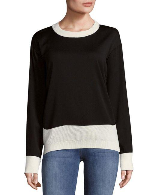 Donna Karan - Black Chunky Merino Wool Open Cable Sweater - Lyst