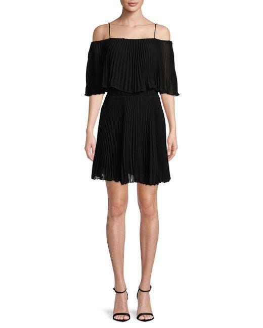 ABS By Allen Schwartz - Black Pleated Popover Dress - Lyst
