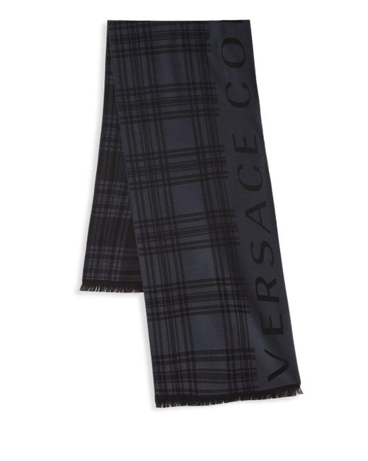 434390766a081 Versace Striped Logo Scarf in Black for Men - Lyst
