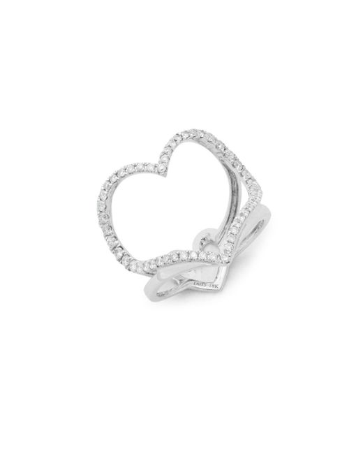 Effy - Metallic Diamond & 18k White Gold Solid Fill Midi Ring - Lyst