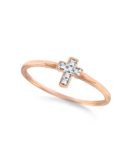 KC Designs - Metallic Rose Gold Mini Diamond Cross Ring - Lyst