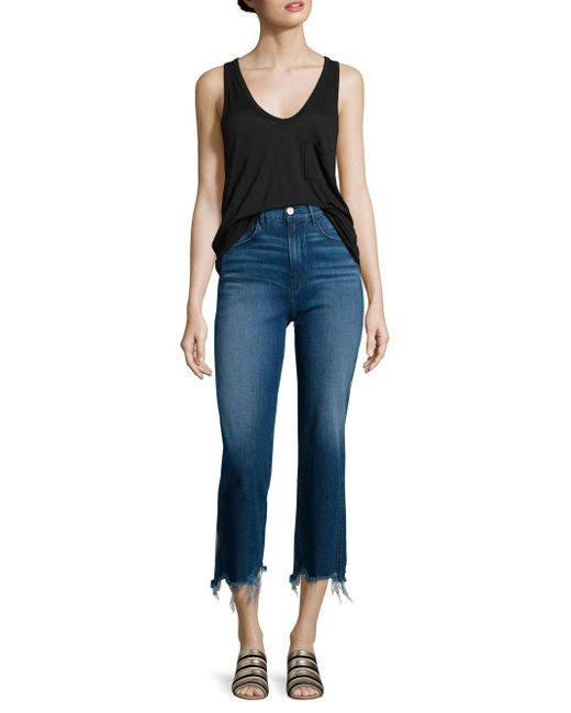 3x1 - Blue Shelter Distressed Cropped Wide-leg Jeans - Lyst