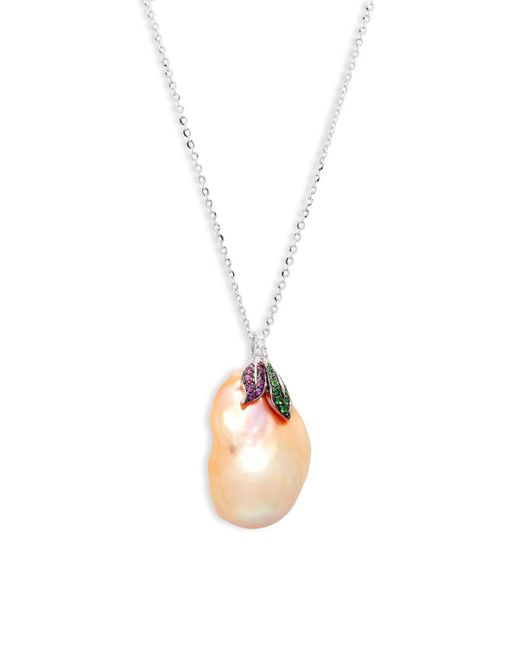 Tara Pearls - 16-17mm Pink Baroque Pearl, Multi-stone And 14k White Gold Pendant Necklace - Lyst