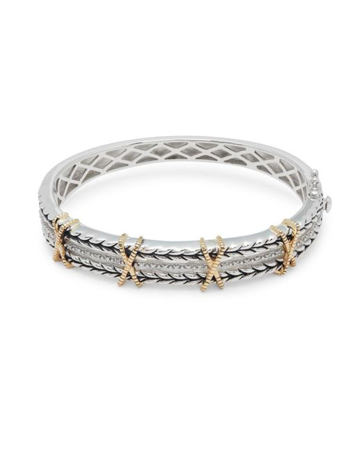 Effy - Metallic 18k Yellow Gold Embossed Bangle Bracelet - Lyst