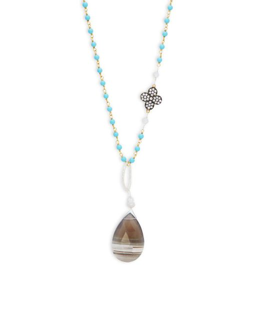 Alanna Bess - Metallic Periwinkle Druzy Necklace - Lyst