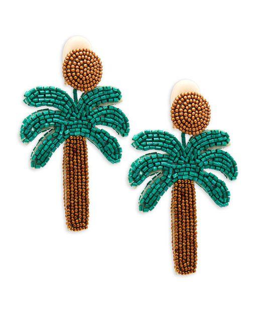 Kenneth Jay Lane - Green Oversized Palm Tree Earrings - Lyst