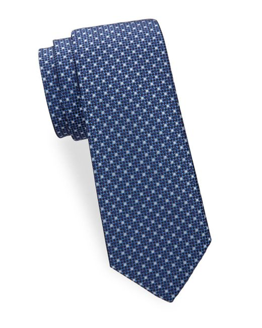 Saks Fifth Avenue - Blue Two Tone Dot Silk Tie for Men - Lyst