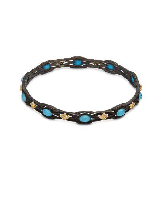 Armenta - Metallic Old World White Diamond, Blue Turquoise, Rainbow Moonstone & 18k Goldplated Sterling Silver Bracelet - Lyst
