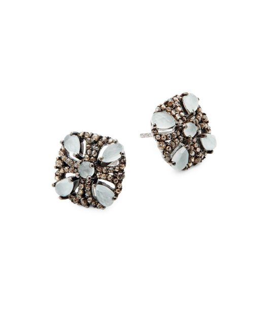 Bavna - Metallic Champagne Diamond, Aquamarine And Sterling Silver Stud Earrings - Lyst