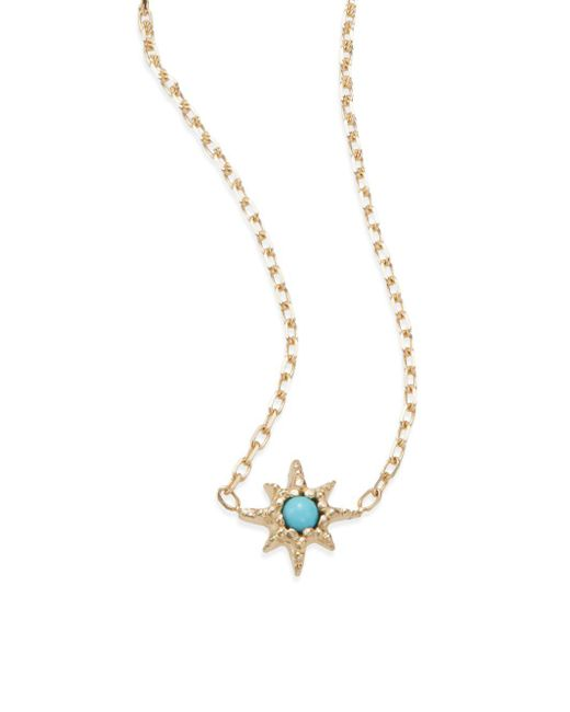 Anzie - Metallic Turquoise & 14k Yellow Gold Pendant Necklace - Lyst
