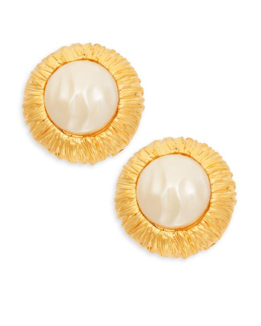 Kenneth Jay Lane - Metallic Goldtone Faux Pearl Earrings - Lyst