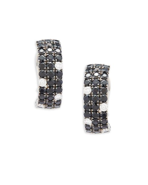 Roberto Coin | Diamond, Black Sapphire And 18k White Gold Stud Earrings | Lyst