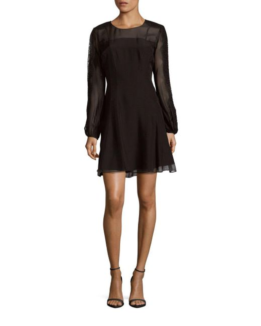 Kay Unger | Black Lace-trimmed Silk Fit & Flare Dress | Lyst
