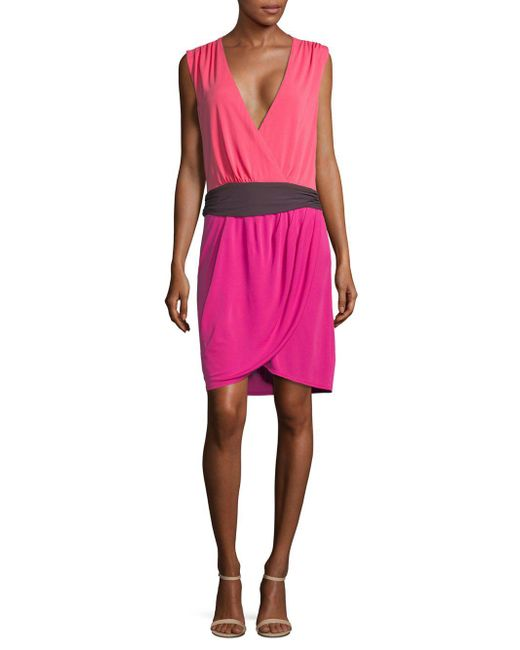 Halston Heritage - Pink Colorblock Wrap Dress - Lyst
