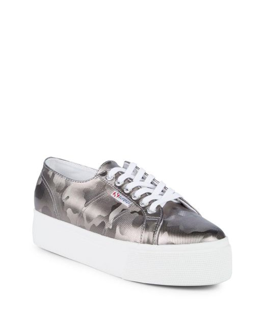 Superga - Gray Army Chrome Camouflage Platform Sneakers - Lyst