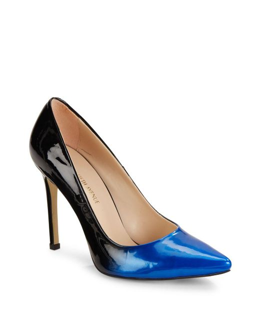 Saks Fifth Avenue | Blue Leather Point Toe Pumps | Lyst