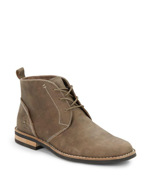 Original Penguin | Gray Merle Leather Lace-up Boots for Men | Lyst