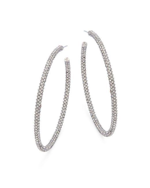 Adriana Orsini   Metallic Jumbo Micropave Silvertone Hoop Earrings   Lyst