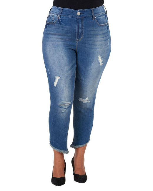 Seven7 - Blue Plus Distressed Skinny Ankle Jeans - Lyst