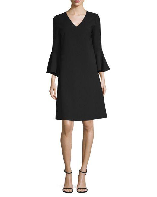 Lafayette 148 New York - Black Holly Ruffle-cuff Crepe Shift Dress - Lyst
