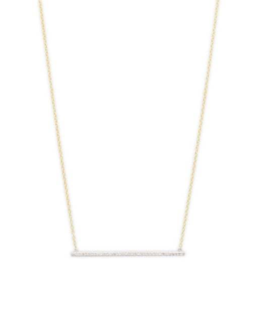 Danni - Metallic Diamond And 14k Yellow Gold Thin Bar Pendant Necklace - Lyst