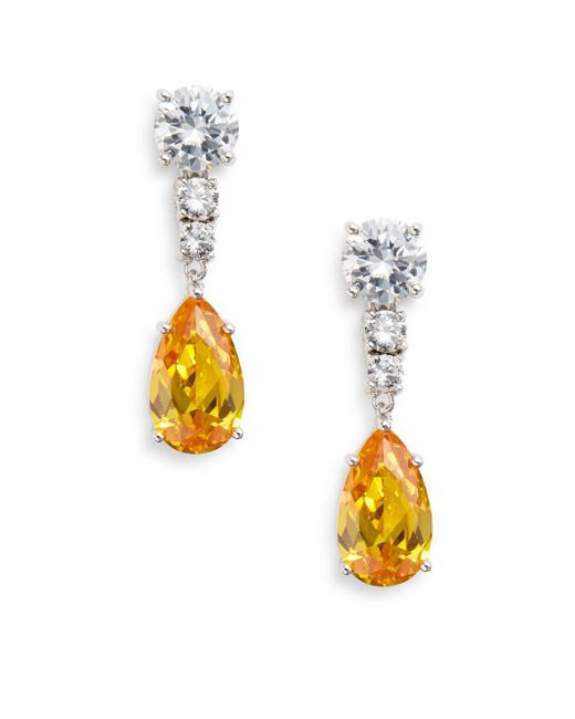 CZ by Kenneth Jay Lane | Metallic Canary Stone Teardrop Earrings | Lyst