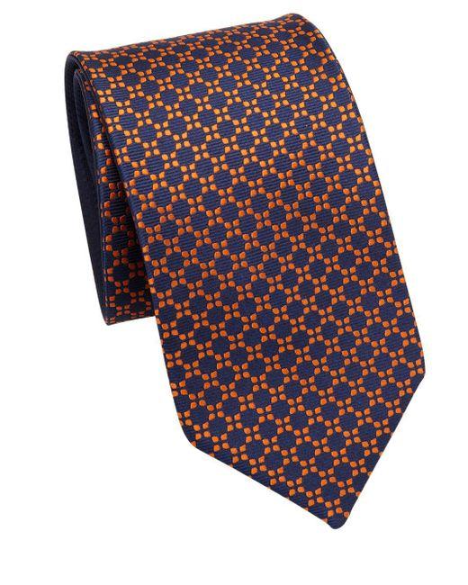 Saks Fifth Avenue - Orange Double Face Geometric Silk Tie for Men - Lyst