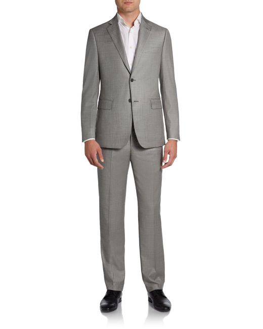 Saks Fifth Avenue Black - Gray Sharkskin Wool Two-button Suit/slim-fit for Men - Lyst