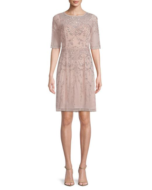 Adrianna Papell - Pink Elbow-length Sleeves Beaded Dress - Lyst