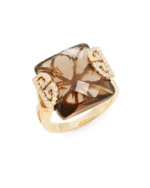 Effy | Metallic Final Call Diamond, Smoky Quartz & 14k Yellow Gold Ring | Lyst