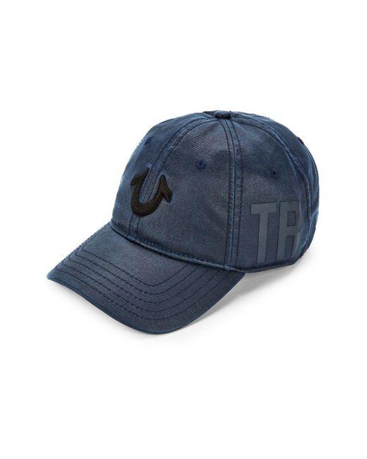 True Religion - Blue Embroidered Logo Baseball Cap for Men - Lyst
