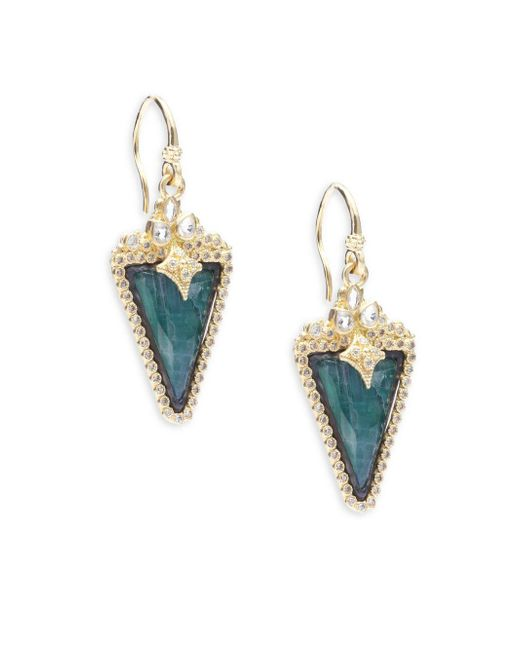 Armenta - Metallic Old World Diamond, Sapphire, Malachite, Rainbow Moonstone, 18k Yellow Gold & Sterling Silver Earrings - Lyst