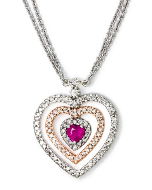 Effy - Metallic 14 Kt. White And Yellow Gold Ruby And Diamond Necklace .49ctw - Lyst