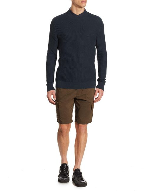 Vince - Blue Mesh Crewneck Pullover for Men - Lyst