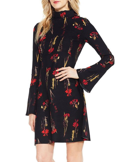 Vince Camuto - Black Floral Print Bell Sleeve Dress - Lyst