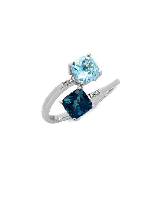 Le Vian - Metallic 14k Vanilla Gold Deep Sea Blue Topaz, Sky Blue Topaz & Vanilla Diamonds Ring - Lyst
