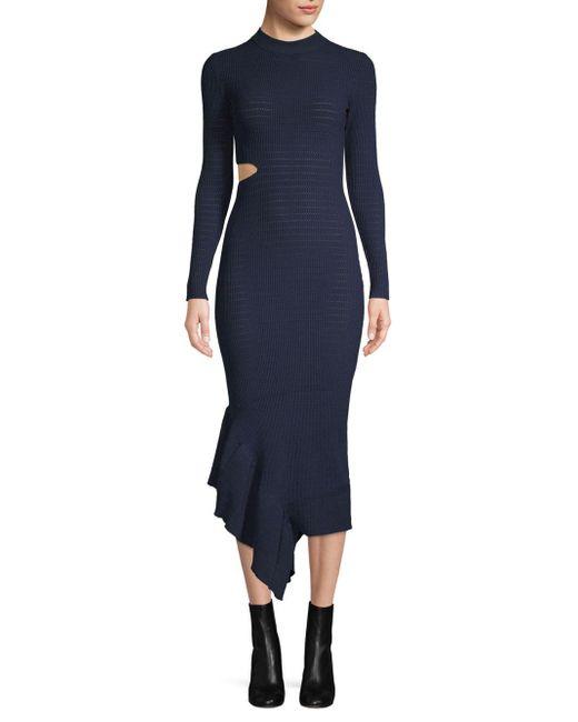 Ronny Kobo - Blue Charlize Asymmetrical Ruffle Dress - Lyst