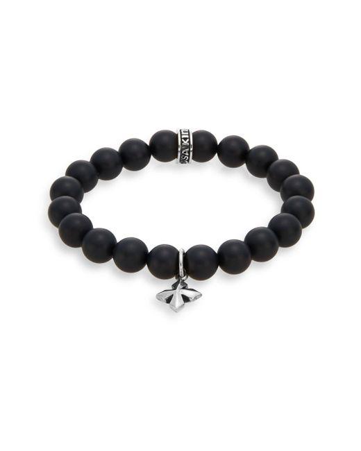 King Baby Studio - Black Onyx & Sterling Silver Beaded Cross Charm Bracelet - Lyst