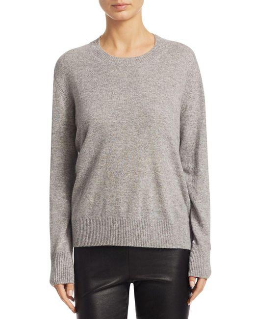 Vince - Gray Silk Crewneck Sweater - Lyst