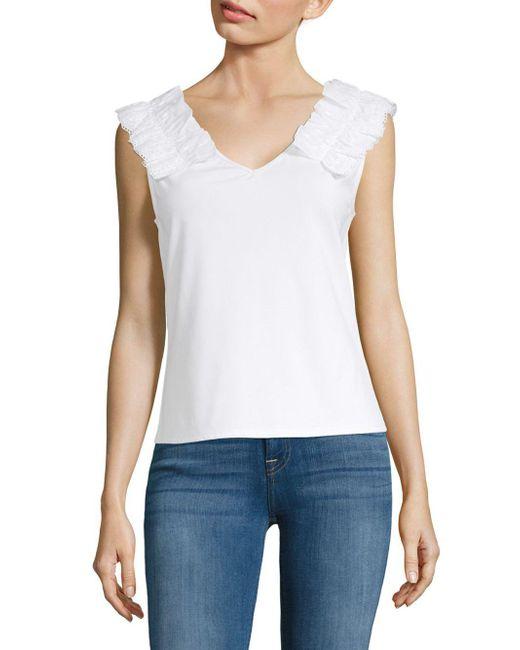 Laundry by Shelli Segal - White Ruffled V-neck Blouse - Lyst