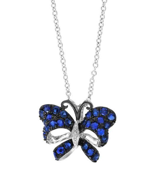 Effy - Multicolor Royale Bleu Sapphire, Diamond And 14k White Gold Butterfly Pendant Necklace - Lyst