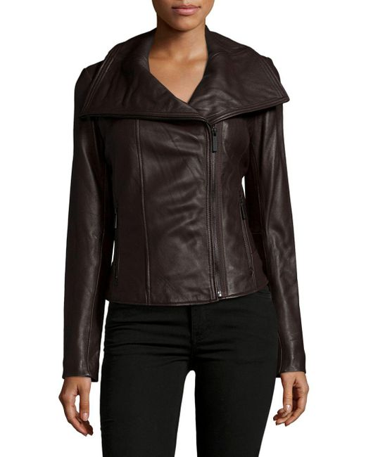 Michael Kors | Brown Leather Zipped Jacket | Lyst