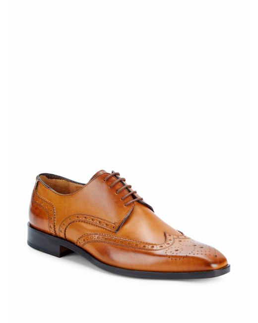 Saks Fifth Avenue | Brown Brogued Wingtip Derby Shoes for Men | Lyst