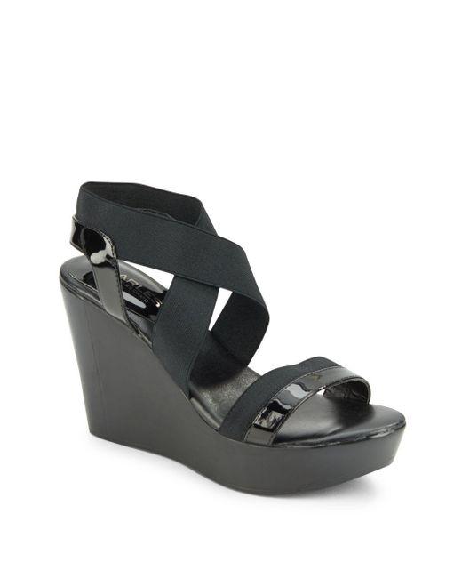Charles David | Black Leather-blend Slip-on Wedge | Lyst
