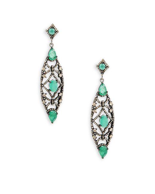 Bavna - Metallic Emerald, Champagne Diamond And Sterling Silver Drop Earrings - Lyst