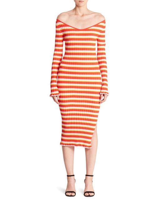 Altuzarra - Red Socorro Striped Knit 3/4-sleeve Midi Dress - Lyst