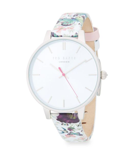 865dc48b2 Ted Baker - White Printed Stainless Steel   Leather-strap Watch - Lyst ...