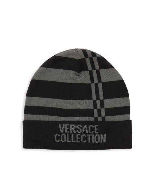 874f519b Lyst - Versace Striped Logo Beanie in Black for Men