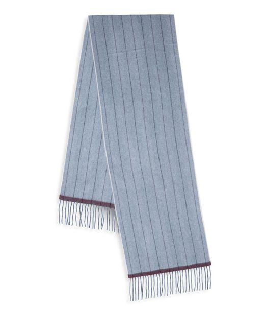Saks Fifth Avenue - Blue Striped Cashmere Scarf for Men - Lyst
